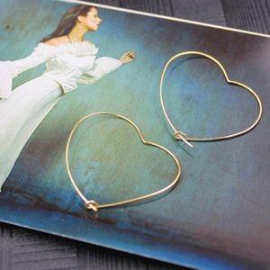 Jewelry - Delicate Heart Shaped Hoop Earrings